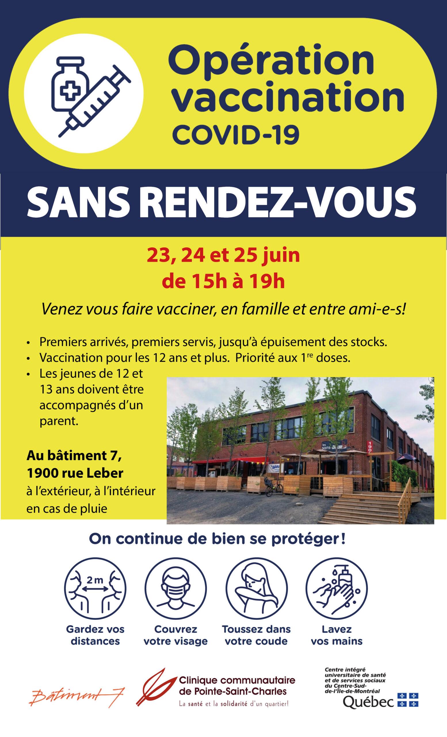 Vaccination COVID sans rendez-vous le 23, 24 et 25 juin au Bâtiment 7