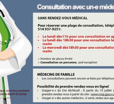 Consultation avec un-e médecin : quelques changements
